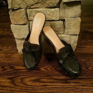 Coach Black Fabric Mules Size 8.5